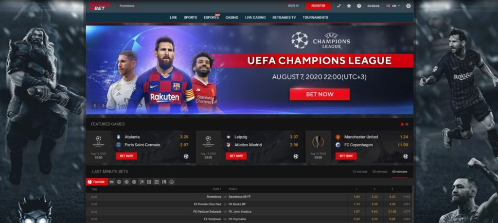 Home page of 5+ Bet bookmaker