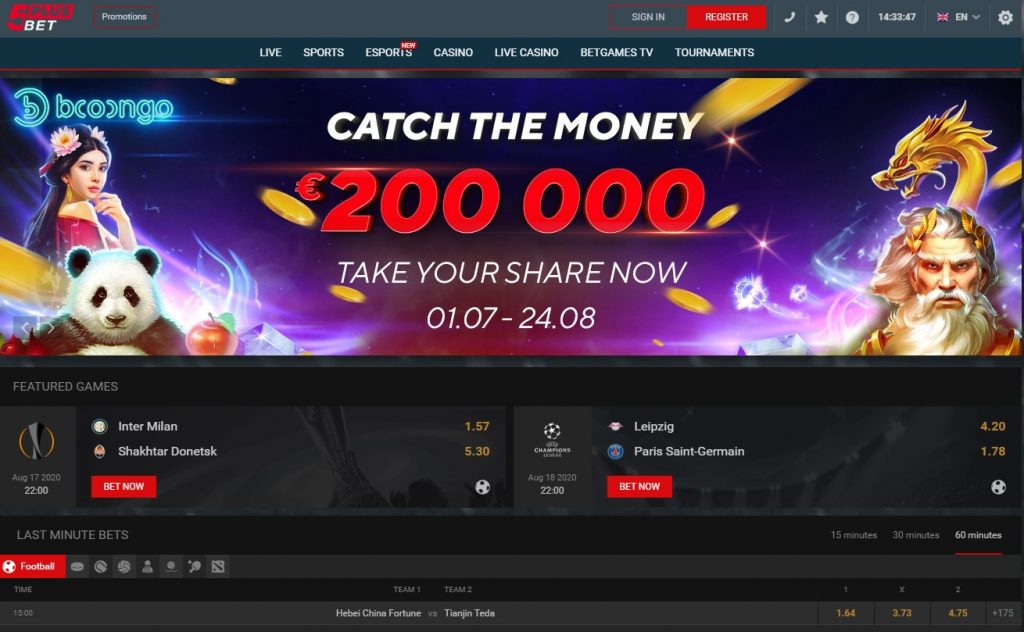 Landing page for 5 PLUSBET