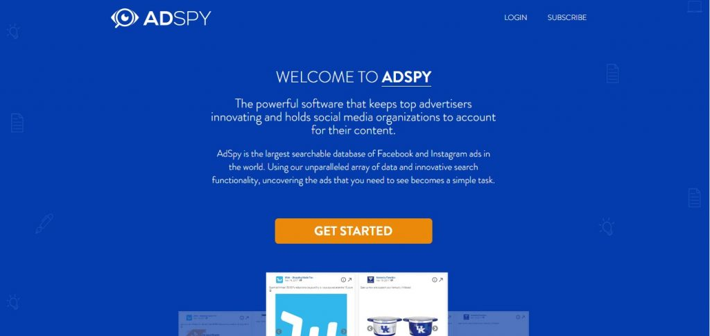 AdSpy home page