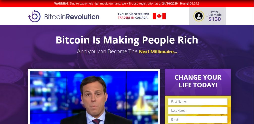 Landing page for Bitcoin Revolution