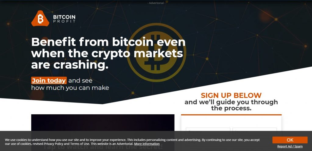 Landing page for Bitcoin Profit