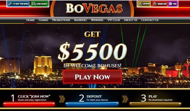Landing page for BOVEGAS