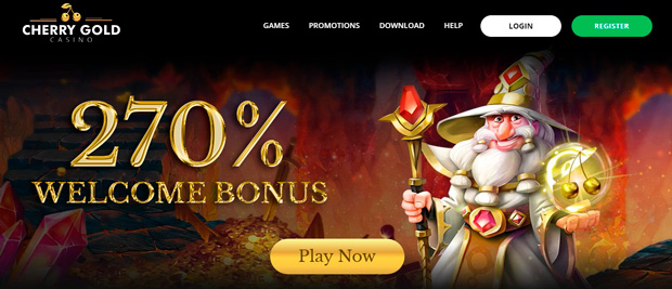 Landing page for CHERRY GOLD Casino