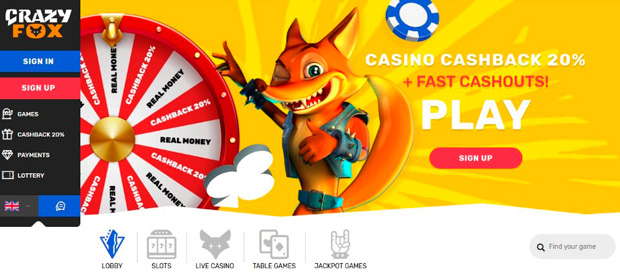 Landing page of the Crazy Fox Casino affiliate program