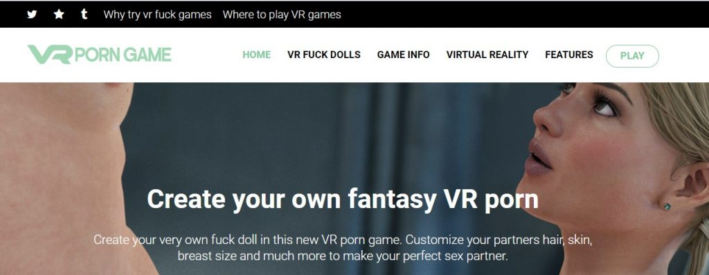 Landing page for VR FUCKDOLLS