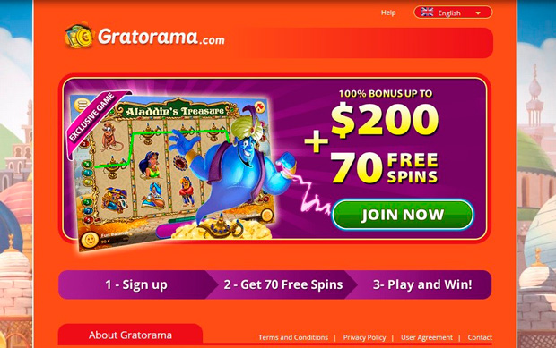 Landing page of the Gratorama casino