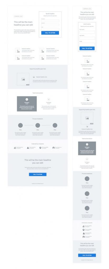 An example of how to arrange all the elements of the landing page in one column