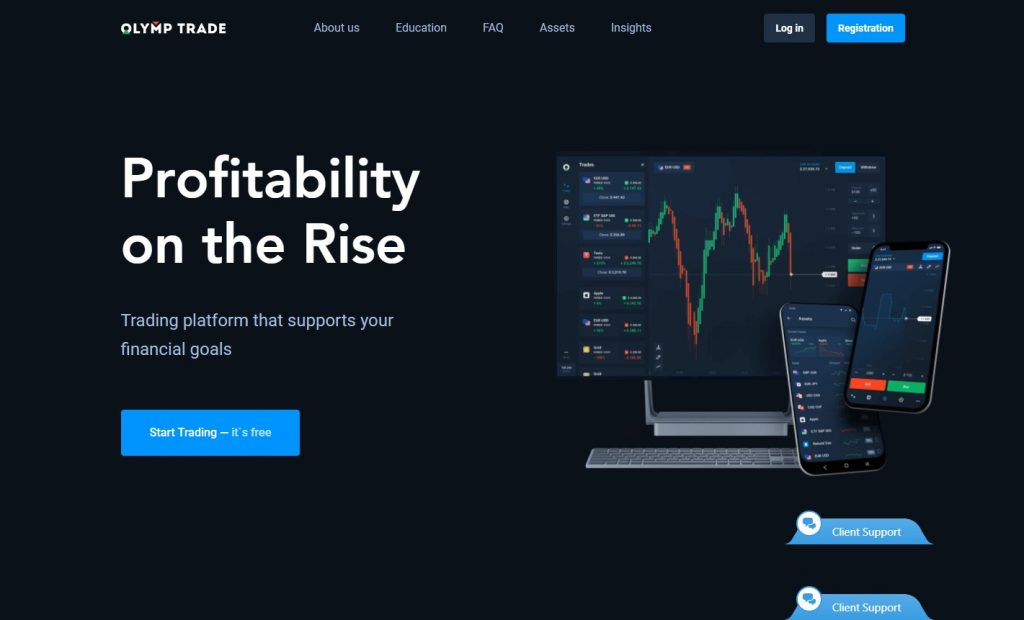 Landing page for Olymp Trade