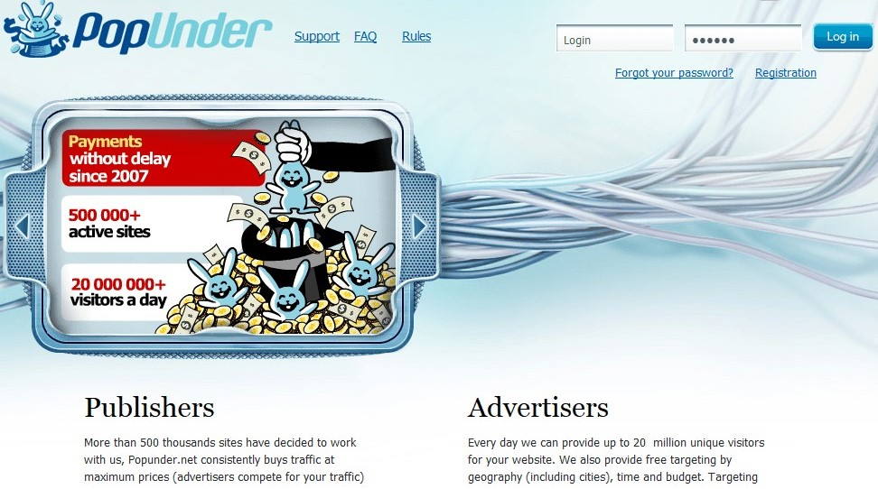 Interface of the Popunder.net home page