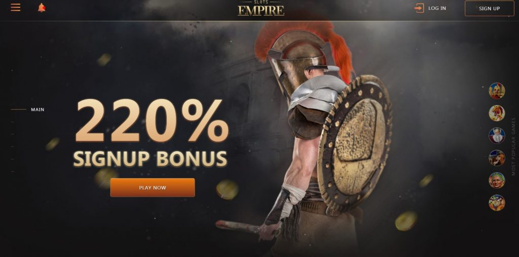 Landing page for SLOTS EMPIRE