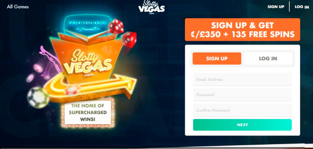 The landing page of the Slotty Vegas casino
