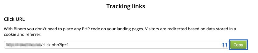 Tracking links settings
