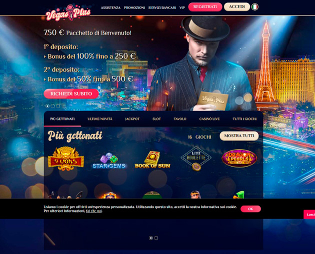 Landing page for the Vegas PLUS online casino
